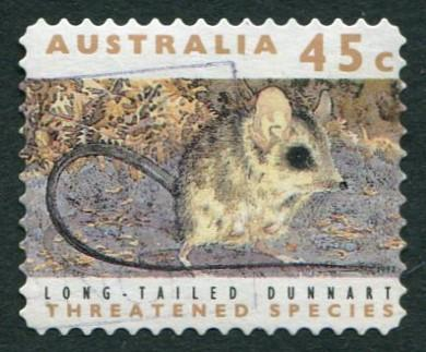 THREATENED SPECIES 1992 - 45c LONG-TAILED DUNNART USED SELF-ADHESIVE