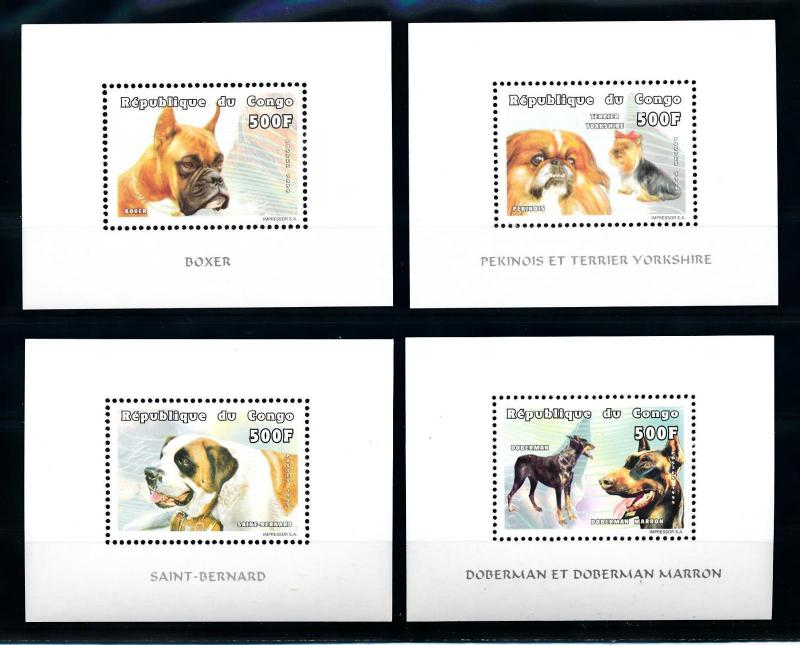 [75741] Congo Brazzaville 1999 Pets Dogs 4 Perf. Deluxe Sheets MNH