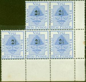 Orange Free State 1897 2 1/2d on 3d Ultramarine SG83 Fine MNH & LMM Block