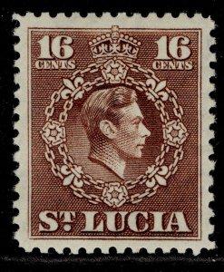 ST. LUCIA GVI SG154, 16c brown, M MINT.