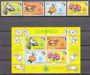 Z2388 1972 domonica set + s/s mnh #337-40a wildlife