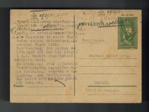 1943 Ghetto Hungary Postcard Cover to Garany Judaica Andor Deutsch KZ