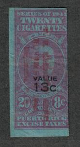 US Puerto Rico 1941 Cigarette Revenue 20 @ 8c, 13c o/p