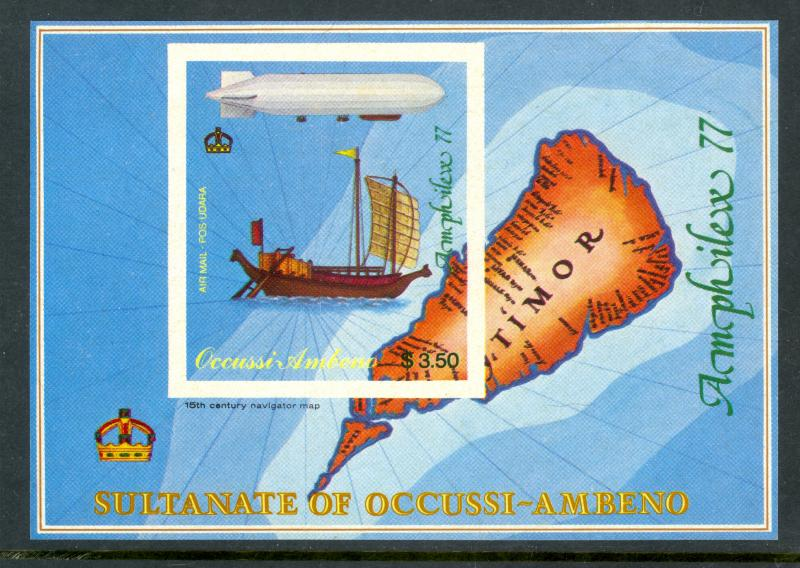 TIMOR Sultanate of Occussi-Ambeno 1977 MAP SHIP Zeppelin Bogus Issue MNH