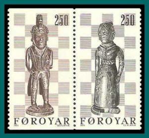 Faroe Islands 1983 Chess Pieces, MNH 93-94ab,SG81-SG82