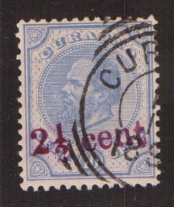 Netherlands Antilles  Curacao  #25   used  1895  William III  surcharge  blue