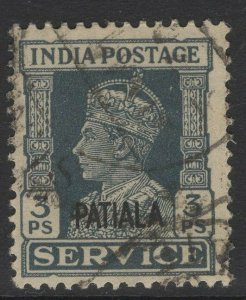 INDIA-PATIALA SGO71 1940 3p SLATE USED