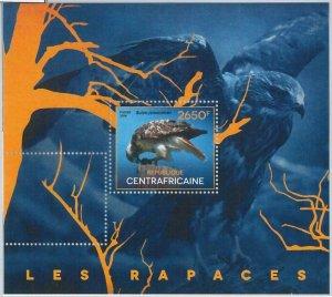 879 - CENTRAL AFRICAN - ERROR - MISSPERF sheet  2014  BIRDS of PREY - HAWK