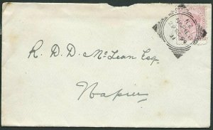 NEW ZEALAND 1894 local cover NAPIER squared circle cancel..................44143