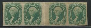 CSA Scott #13 Mint Hinged Gutter Strip of 4 Confederate Stamps