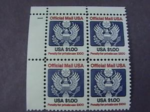 U.S.# O132-MINT/NH-U L PLATE # BLOCK OF 4--$1.00 OFFICIAL--P#1--1983-85