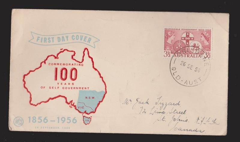 AUSTRALIA Scott # 287 On FDC WCS Thermal Cachet Mailed To Newfoundland