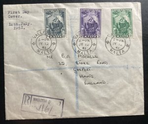 1951 Valletta Malta First Day cover FDC To Gosport England Scapular Centenary