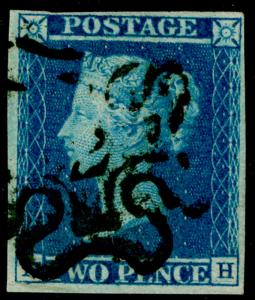 SG14f, 2d blue, FINE USED. Cat £700. NUMBER 2 IN BLACK MX. 4 MARGINS.