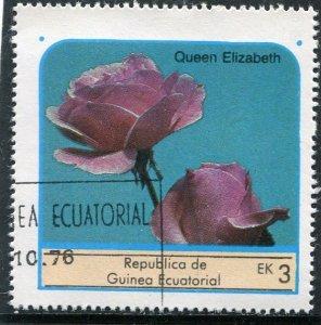 Equatorial Guinea 1976 ROSES QUEEN ELIZABETH 1 value Perforated Fine Used