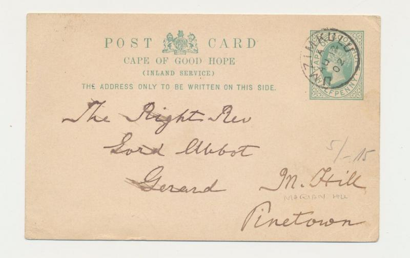 CAPE OF GOOD HOPE 1902, UMZIMKULU TO PINETOWN, ½d CARD
