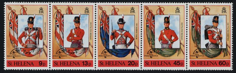 St Helena 510 MNH Flags, Military Uniforms, o/p Philexfrance