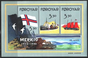 Faroe Islands. 1990. bl 47A. The ships. MNH.