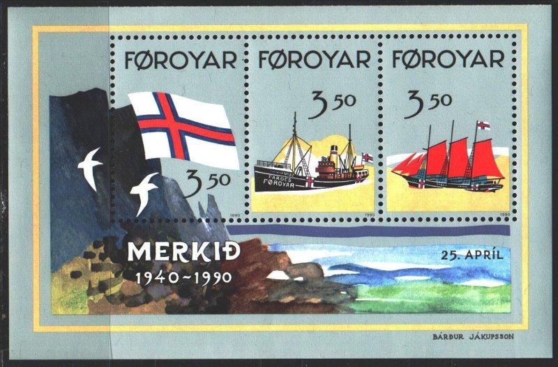 Faroe Islands. 1990. bl 47A. The ships. MNH.