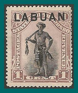 Labuan 1894 Dyak Chief, p15 mint  49,SG62