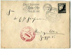 Graf Zeppelin LuftPost GERMANY Deutsches Reich Airmail Cover Frankfurt 1938
