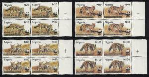 Nigeria WWF Side-striped Jackal 4v Blocks of 4 SG#809-812 MI#762-765 SC#759-762