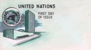 UNITED NATIONS - Unused Knoble hand painted cachet