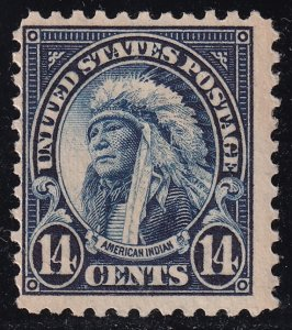US STAMP #565 – 1923 14c American Indian, deep blue MH/OG thin
