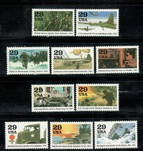 2838 (a-j) World War II 1944 Road To Victory Set Of 10 Mint/nh
