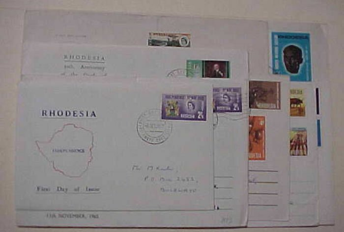 RHODESIA FDC 10 DIFF. 1960-1975  THREE ARE REGISTERED CACHET ADDRESSED