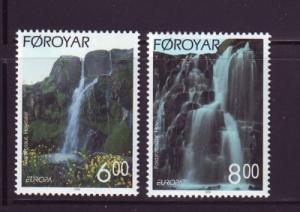 Faroe Islands Sc 362-3 1999 Europa Waterfalls stamp set mint NH