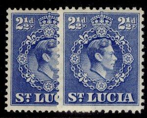 ST. LUCIA GVI SG132 + 132a, 2½d PERF VARIEITES, M MINT.