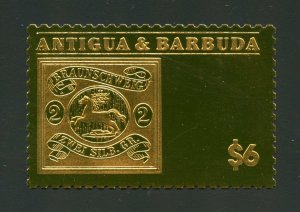 ANTIGUA GOLD FOIL STAMP ON STAMP BRAUNSCHWEIG  MINT NH OFFICIAL ISSUE#91