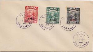 Sarawak 2c, 3c and 10c Sir Charles Vyner Brooke Overprinted BMA 1948 Song.  P...