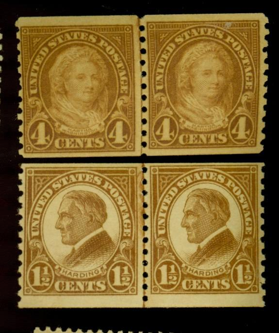 598 601 MINT Line Pairs F-VF OG NH Cat$64.50