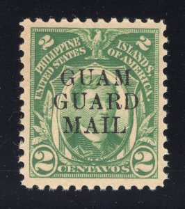Guam# M5 2 Cents, Green - Guam Guard Mail - Unused - Disturbed Gum