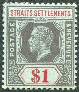 STRAITS SETTLEMENTS-1914 $1 Black & Red/Blue Sg 210 MOUNTED MINT V50207