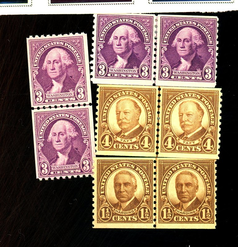 U.S. #686-7 721-22 MINT Line Pairs F-VF OG HR Cat $32
