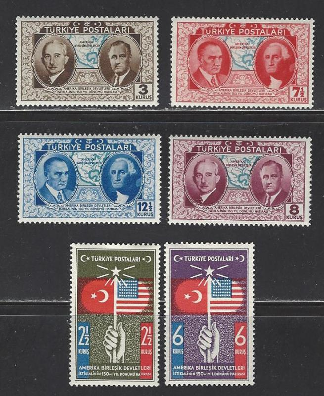 Turkey #817-822 Mint Hinged Set of 6