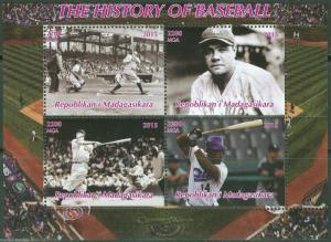Madagascar MNH S/S History Of Baseball Babe Ruth 2015
