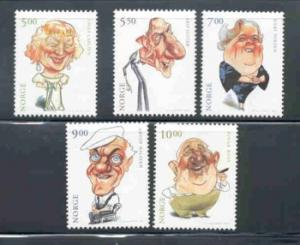 Norway Sc 1298-1302 2001 actors stamp set mint NH