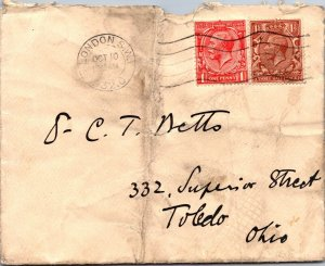 London UK > Netto Toledo OH 2 GV stamps 1932 cover