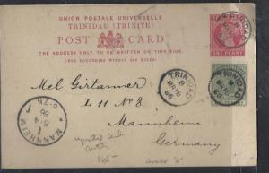 TRINIDAD   (P2710B) 1896 1D PSC UPRATED 1/2D TO GERMANY WITH MSG
