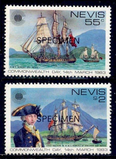 Nevis 1983 Commonwealth Day w/ SPECIMEN Ovpt (Scott # 167-168)