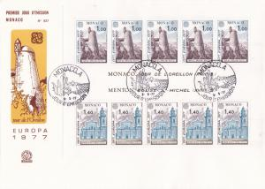 Monaco 1977 Europa Sheet of Eight on Large Unaddressed FDC. Helmet Tower VF