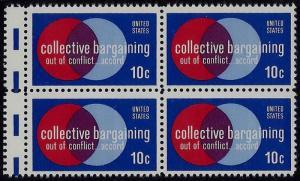 1558 Gutter Snipe Error / EFO Block of 4 Collective Bargaining Mint NH