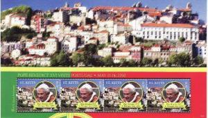 St Kitts - Pope Benedict XVI 4 Stamp Sheet  STK1024