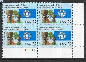 US#2804 $0.29 Northern Mariana Islands  Plate block of 4 (MNH) CV$3.25