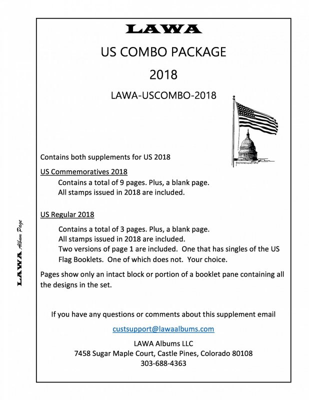 2018 US COMBINED SUPPLEMENT – LAWA Album Pages / HipStamp