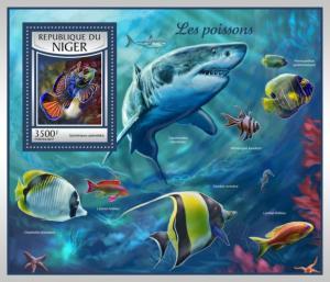 NIGER - 2017 - Fishes - Perf Souv Sheet - MNH